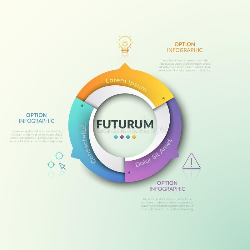Soe a carta dividida em 3 setores com as setas que apontam na linha fina ícones e nas caixas de texto Projeto infographic futuris ilustração do vetor