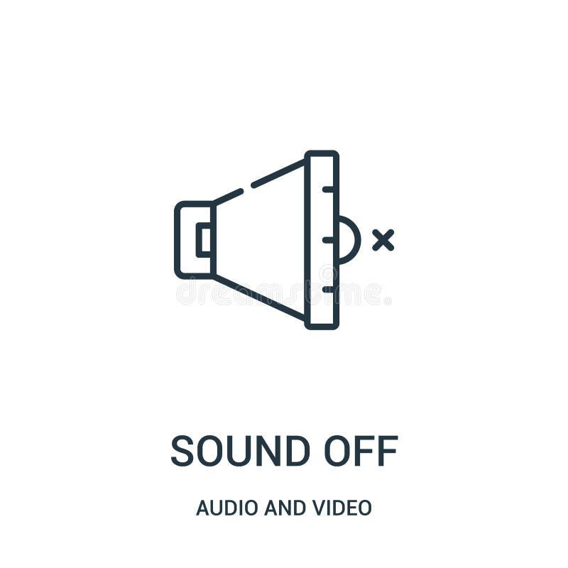 soe fora o vetor do ícone da coleção audio e video A linha fina soa fora a ilustração do vetor do ícone do esboço ilustração do vetor