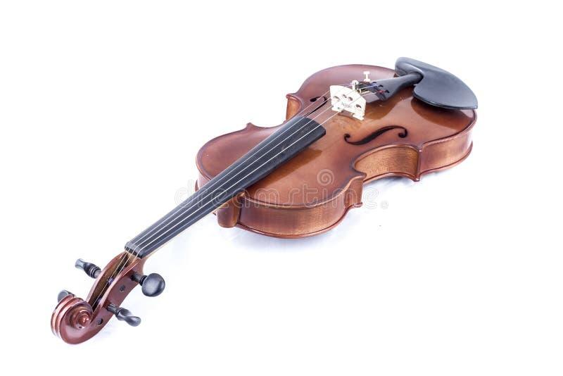 Soe, opinião dianteira do violino isolada no branco, vintage fotos de stock