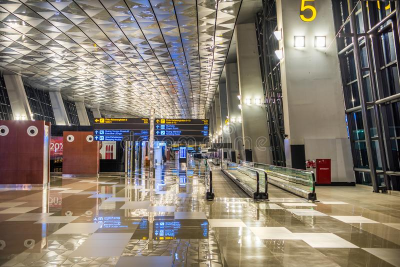 The Soekarno Hatta international airport of Jakarta Indonesia at terminal 3,A beautiful architectural interior design royalty free stock images