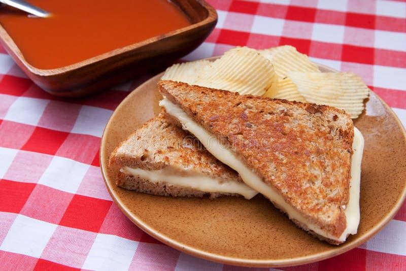Soep en sandwich stock foto's