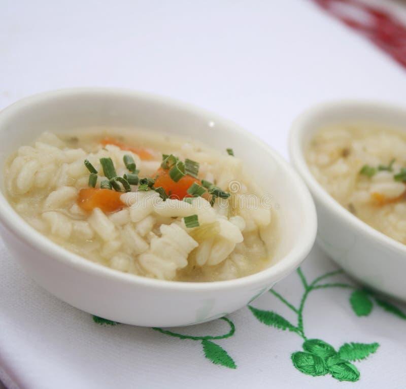 Soep met rijst stock afbeelding