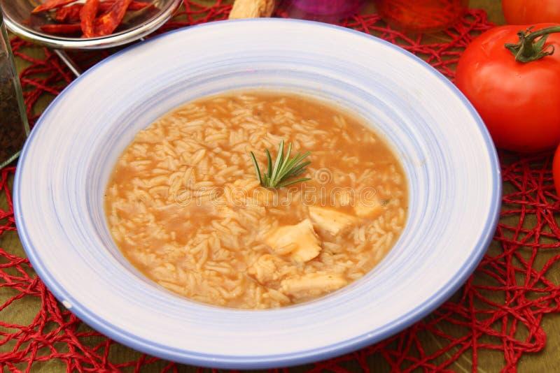 Soep van rijst en kippenvlees stock afbeelding
