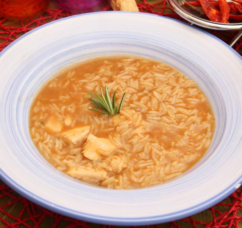 Soep van rijst en kippenvlees stock foto's