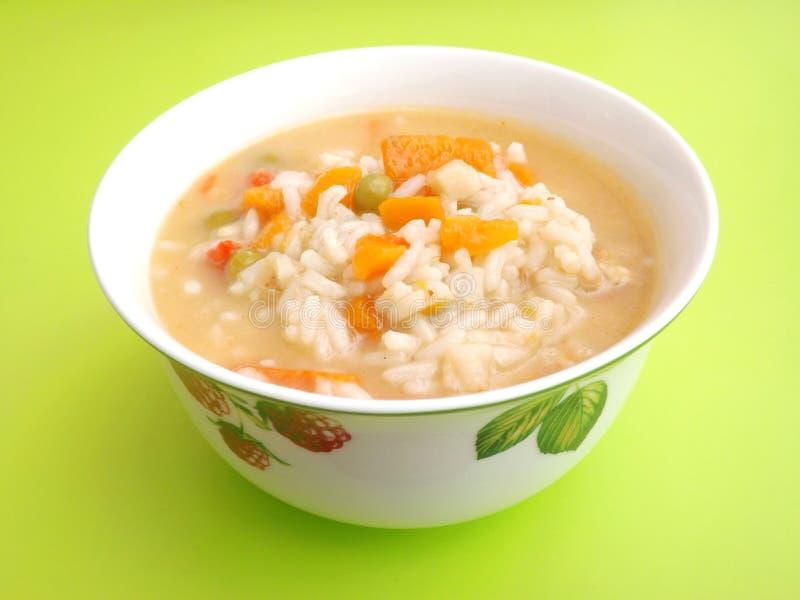 Soep van rijst met kip royalty-vrije stock fotografie