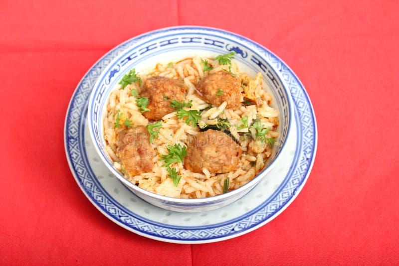 Soep van rijst met vleesballetjes royalty-vrije stock afbeelding