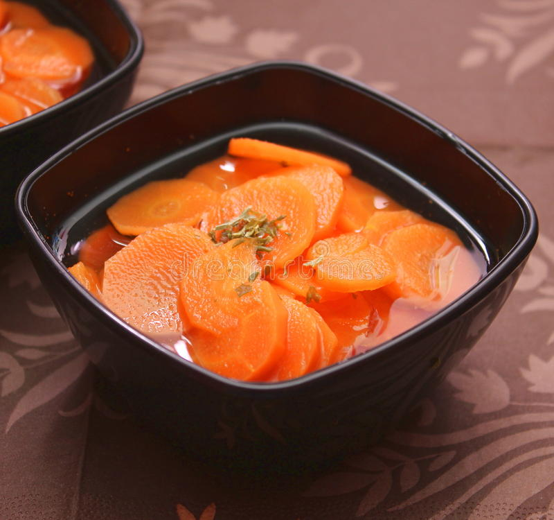 Soep van wortelen stock foto