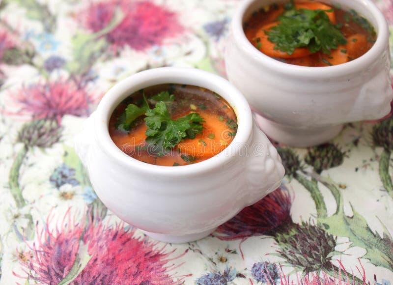 Soep van wortelen stock foto's
