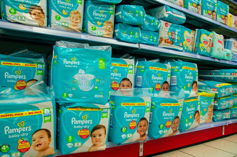 Soest, Germany - August 3, 2019: Pampers diaper pack for sale in the store royalty free stock photography