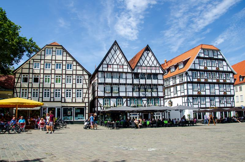 Soest, Germany - August 4, 2019: Soest city center cityscape. Street with restaurants stock photo
