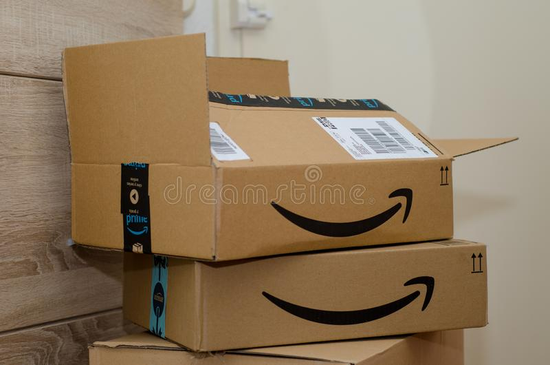 Soest, Germany - December 12, 2018: Amazon Prime cardboard box stock image