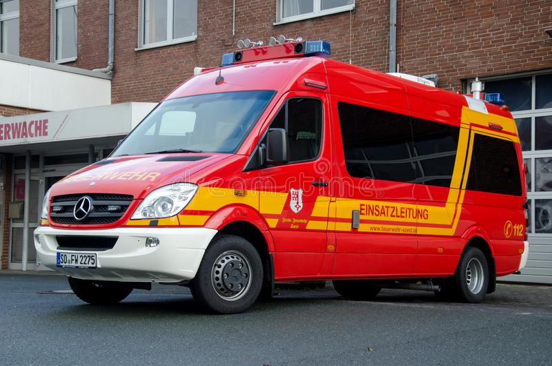 Soest, Germany - December 18, 2017: Fire department service truck Feuerwehr Soest. 112 is the European emergency number that. Fire department service truck stock photo