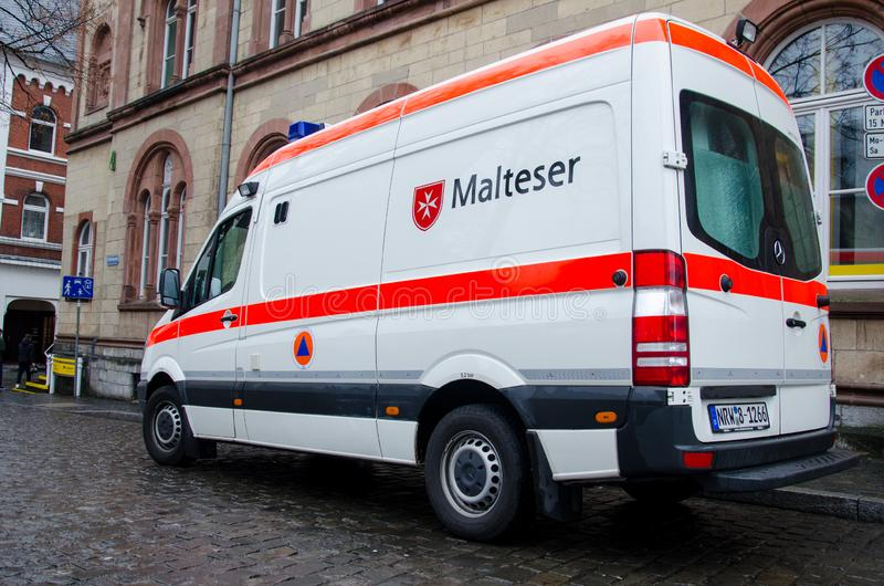 Soest, Germany - December 31, 2018: Malteser Car. Malteser International is an international non-governmental aid agency for. Malteser Car. Malteser stock photo