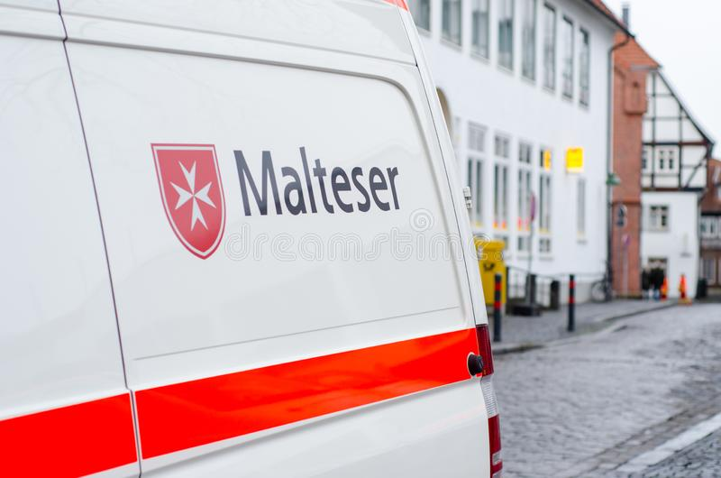 Soest, Germany - December 31, 2018: Malteser Car. Malteser International is an international non-governmental aid agency for. Malteser Car. Malteser royalty free stock images