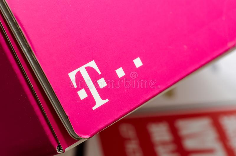 Soest, Germany - January 2, 2018: Cardboard box with logo Deutsche Telekom stock photography