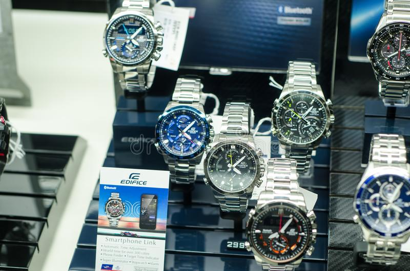 Soest, Germany - January 14, 2019: Casio Edifice in the shop window stock images