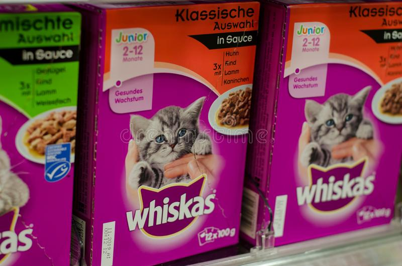 Soest, Germany - January 2, 2018: closeup of Whiskas packets cat food. Whiskas is a brand of cat food sold throughout the world. royalty free stock photography