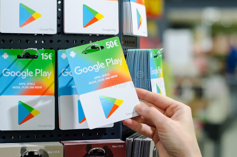 Soest, Germany - January 8, 2019: GOOGLE PLAY gift cards for sale in the shop. GOOGLE PLAY gift cards for sale in the shop stock photo