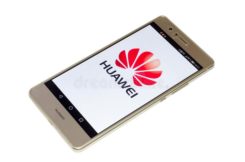 Soest, Germany - January 4, 2018: Huawei logo on screen of Huawei P9 lite. Huawei Technologies Co., Ltd. is a Chinese royalty free stock photos