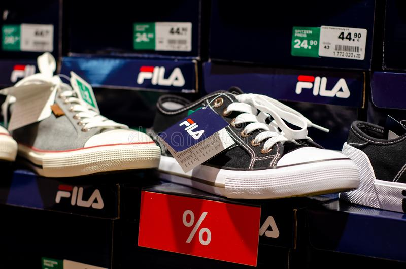 Soest, Germany - July 29, 2019: FILA sneakers for sale in the store.  stock photography
