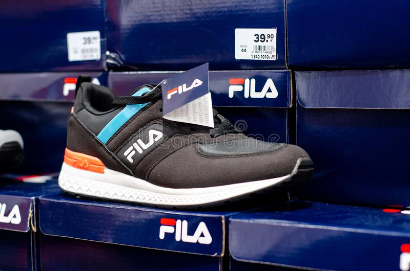 Soest, Germany - July 29, 2019: FILA sneakers for sale in the store.  stock photo