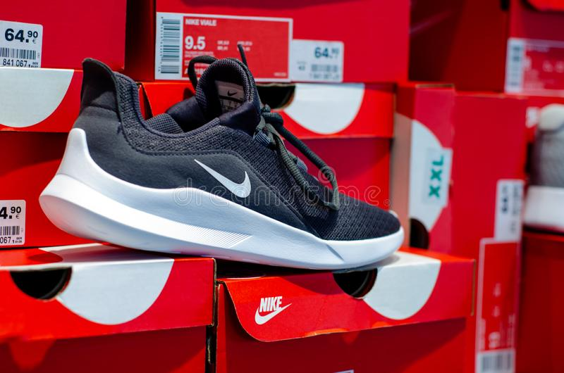 Soest, Germany - July 29, 2019: NIKE sneakers for sale in the store royalty free stock image