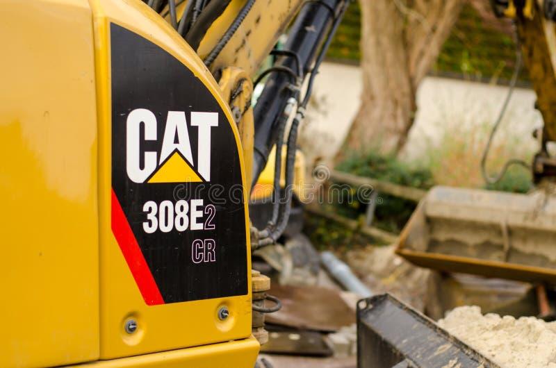Soest Tyskland - December 28, 2018: CR Mini Hydraulic Excavator för KATT 308E2 royaltyfria bilder