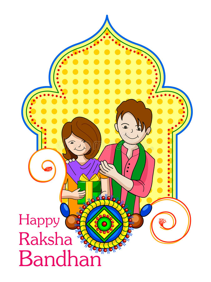 Soeur de frère en Raksha Bandhan illustration de vecteur