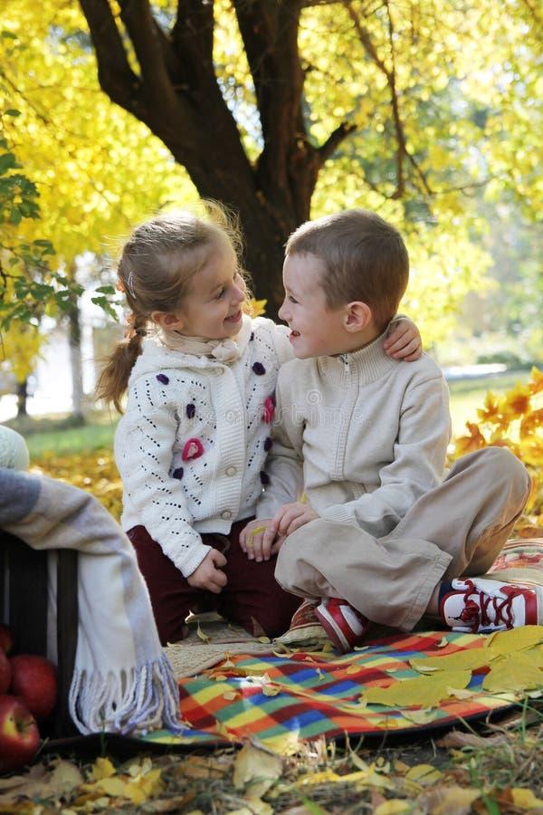 Soeur et frère parlant l'arbre de dessous amical d'automne photographie stock