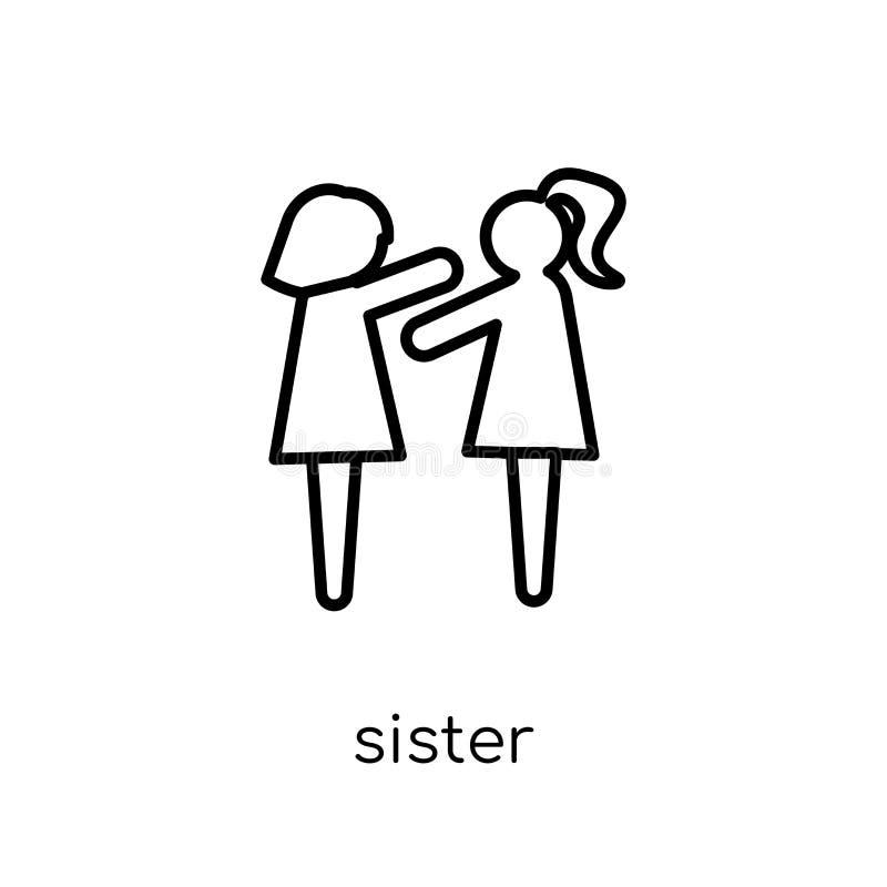 Soeur Icon Icône linéaire plate moderne à la mode de soeur de vecteur sur le whi illustration de vecteur