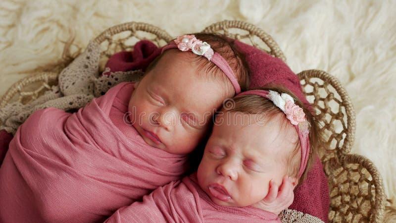 Soeurs de jumeaux nouveau-nées dans l'enroulement et dans un panier photo libre de droits