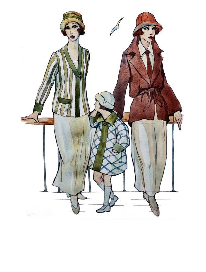 Soeurs de jumelles de rétros de style d'aquarelle d'Originat rétros filles d'aileron illustration de vecteur