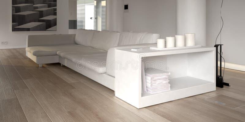Sofà bianco moderno con lo scaffale royalty illustrazione gratis