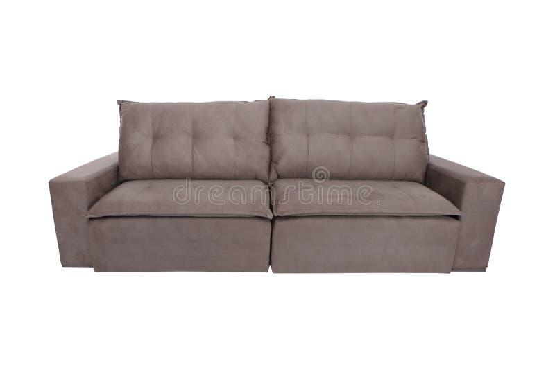 sofà bianco moderno dello strato della pelle scamosciata isolato fotografia stock libera da diritti