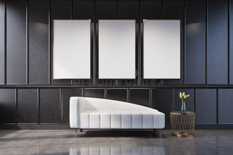 Sofà bianco in un salone grigio illustrazione vettoriale