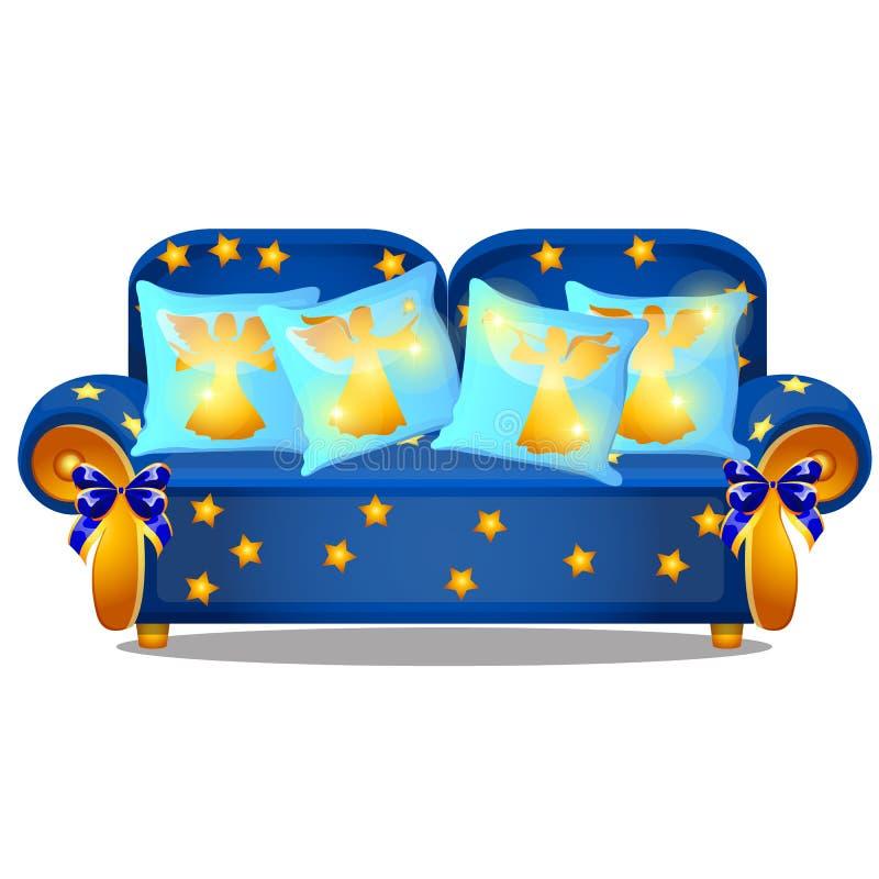 Sofà blu con i braccioli dell'oro e un ornamento sotto forma di stelle gialle isolate su un fondo bianco Insieme dei cuscini illustrazione di stock
