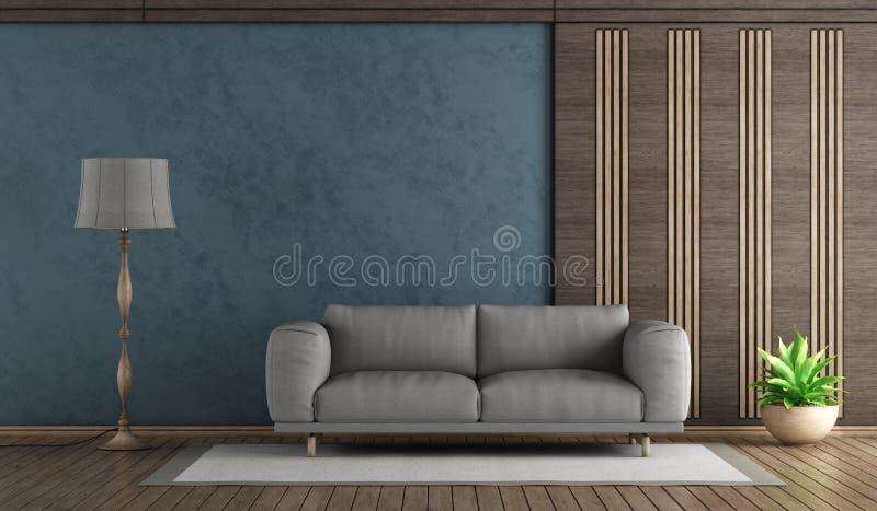 Sofà blu elegante di gray del withh del salone royalty illustrazione gratis
