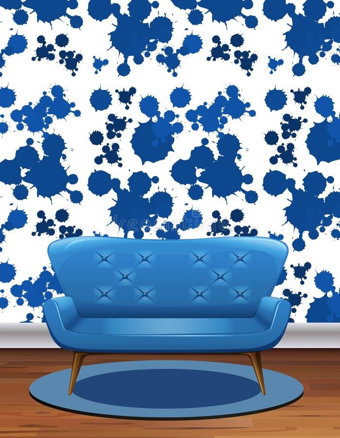 Sofà blu nella sala con la carta da parati blu della spruzzata illustrazione vettoriale