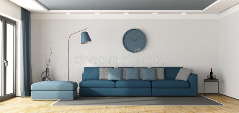 Sofà blu in un salotto bianco illustrazione di stock