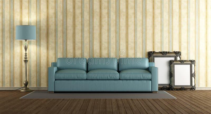 Sofà di cuoio blu in un salone classico illustrazione vettoriale