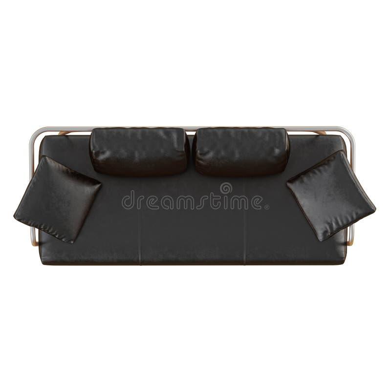 Sofà di cuoio nero con i cuscini su un fondo bianco 3d royalty illustrazione gratis