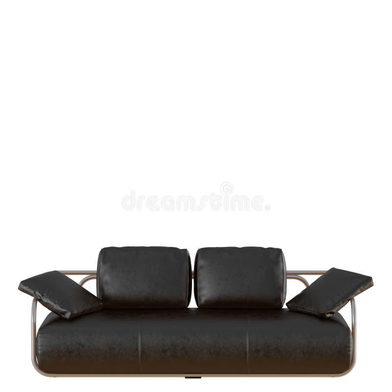 Sofà di cuoio nero con i cuscini su una rappresentazione bianca del fondo 3d illustrazione di stock