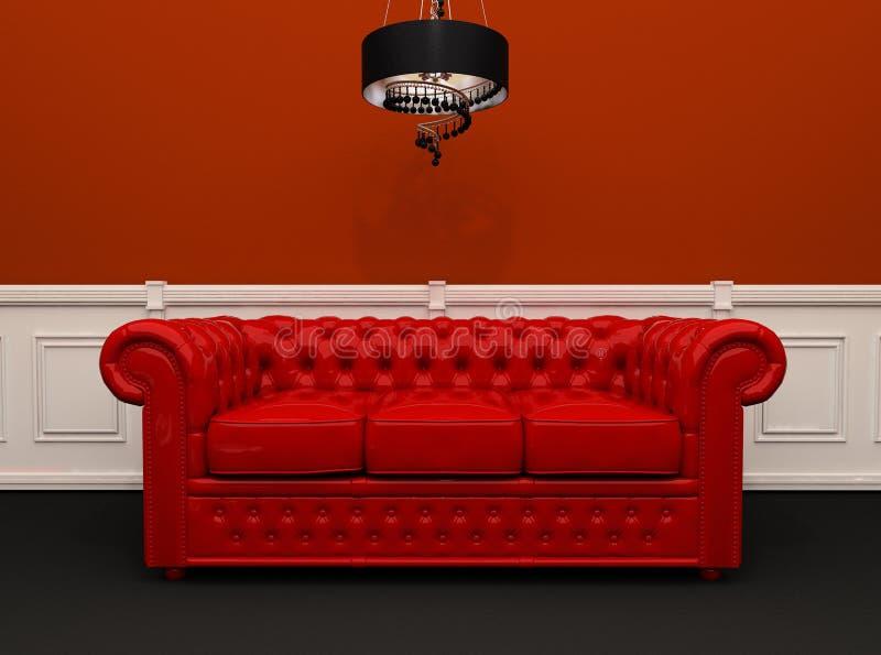 Sofà di cuoio rosso con l'interiore del lampadario a bracci royalty illustrazione gratis