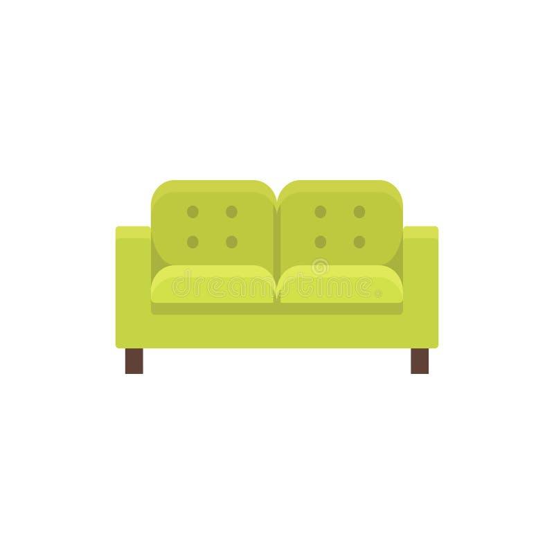 Sofà di Lawson Illustrazione di vettore Icona piana di dubbio trapuntato verde illustrazione vettoriale