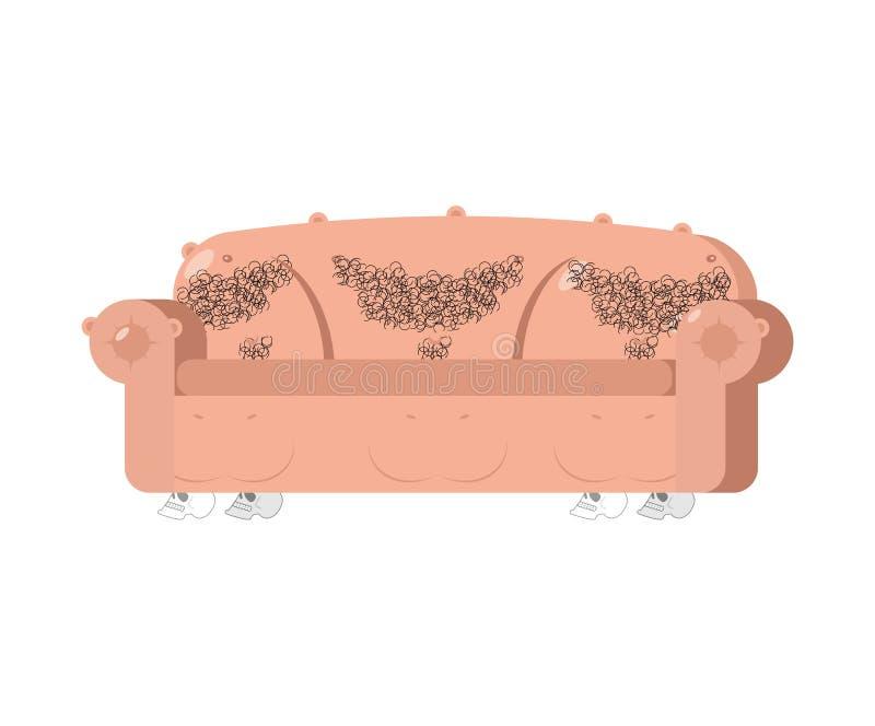 Sofà di pelle umana Mobilia esclusiva Strato unico royalty illustrazione gratis