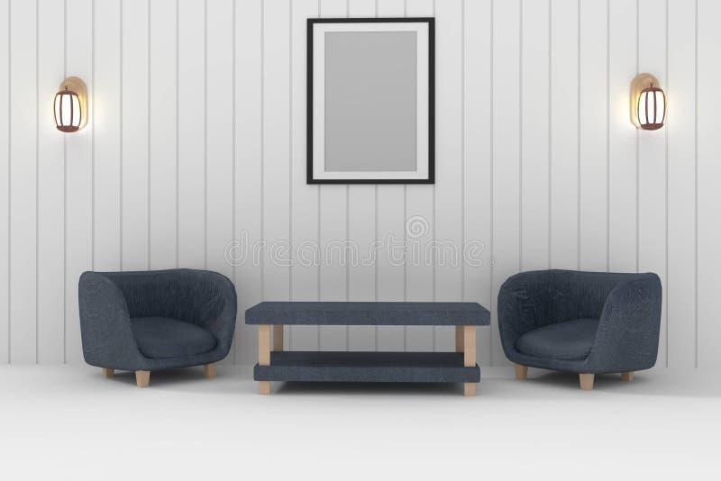 Sofà doppio con la lampada e la foto della struttura nell'interior design della stanza bianca nella rappresentazione 3D illustrazione di stock