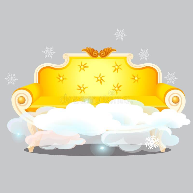 Sofà dorato d'annata con le nuvole isolate su fondo grigio Il più alto grado di comodità Primo piano del fumetto di vettore illustrazione vettoriale