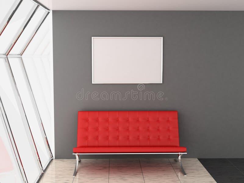 Sofà e blocco per grafici illustrazione di stock