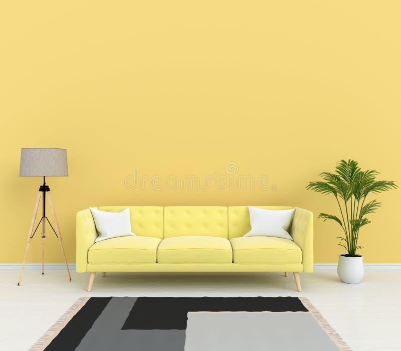Sofà e lampada gialli in salone, rappresentazione 3D illustrazione vettoriale
