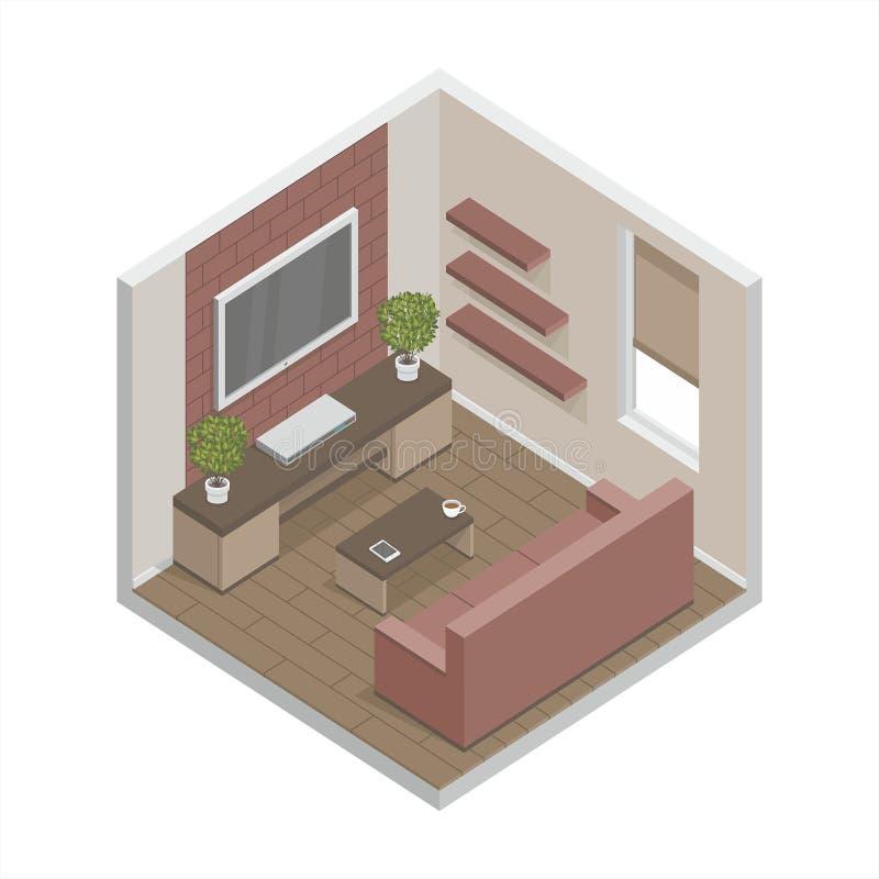 Sofà e pranzo-vagone angolari nell'interiore illustrazione vettoriale